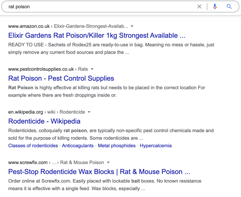 rat poison google search results
