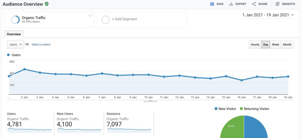 Google analytics screenshot of organic traffic