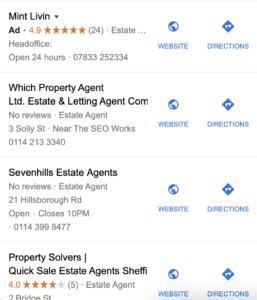 Screenshot of google my business estate agent listings