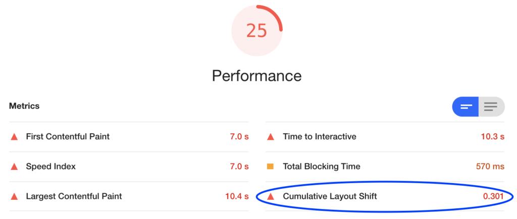 performance screenshot CLS lighthouse