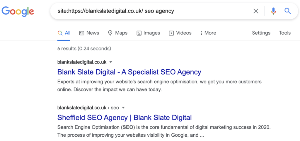 screenshot of google results for a site: search
