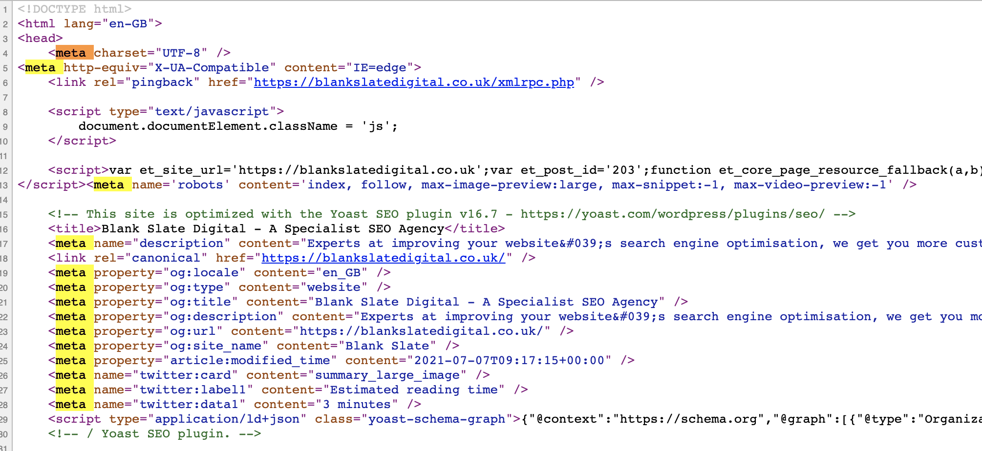 screenshot of meta tags in html