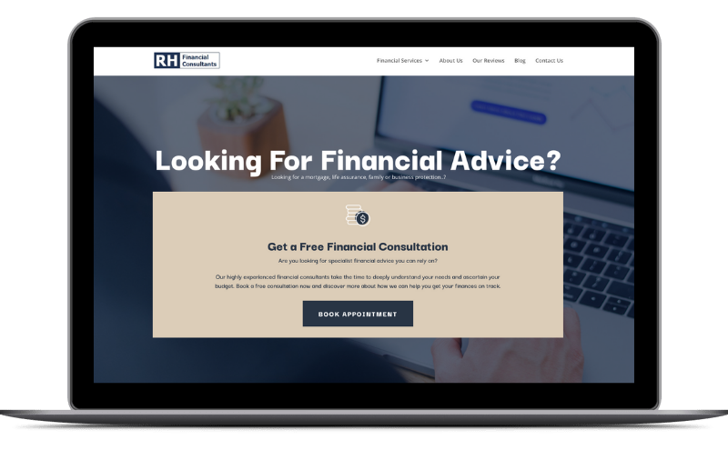 rh financial consultants site on laptop